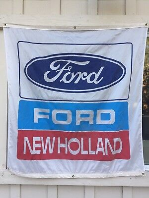 "Ford New Holland Showroom Dealership Dealer Flag Banner Vtg 57"" X 58"""