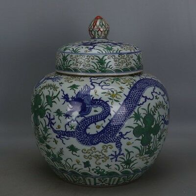 Huge Chinese Antique Blue White Green Color Dragon Porcelain Cover jar with Mark