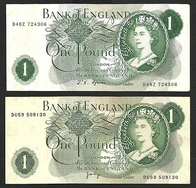Bank of England Great Britain Banknote - 1 Pound - Lot of 2 Different Sigs - XF