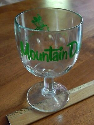 """'70s Mountain Dew """"It'll Tickle Yore Innards!"""" Glass Dimpled Chalice SODA Goblet"""