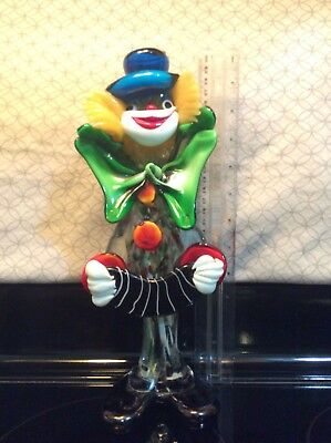 "Vintage 11.5"" Murano Art Glass Clown W/ Accordion LA Serenissima Italy"