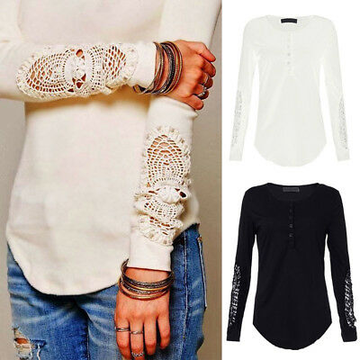 Womens Long Sleeve Lace T-Shirt Ladies Casual Cotton Blouse Loose Tops 8-16