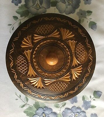 Beautifully Hand Carved Vintage Hard Wood Bowl With Lid In Good Condition
