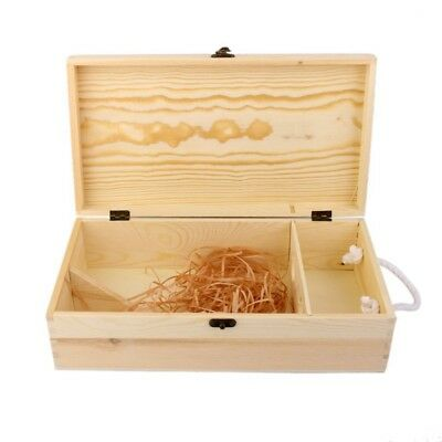Double Carrier Wooden Box for Wine Bottle Gift Decoration R9J6
