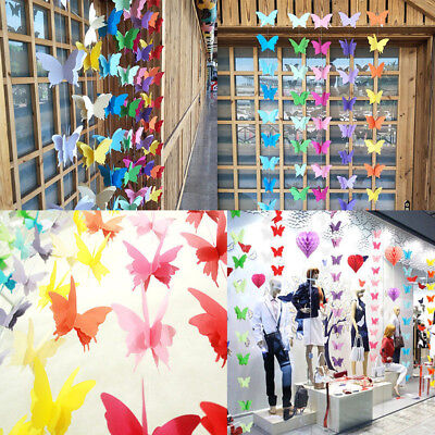3D Butterfly Hanging Paper Banner Wedding Birthday Party Garland Chain Art Decor