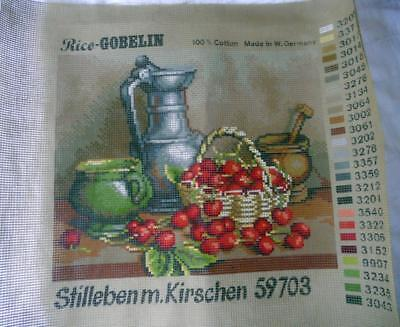Unused Vintage Rice Gobelin Printed Tapestry Canvas Cherry Still Life 59703