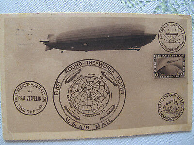 Postkarte First round the world flight Zeppelin 1930 aus Friedrichshafen