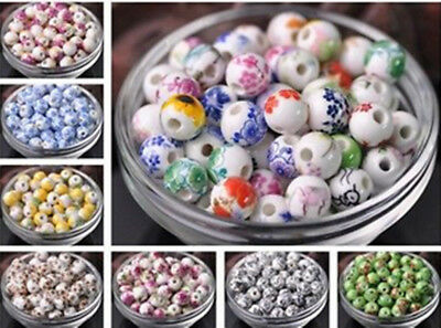 10/100pcs10mm Flowers Pattern Ceramic Porcelain Loose Spacer Colorized Beads