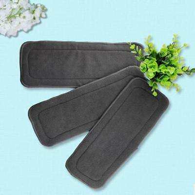 Reusable 4 Layers Adult Cloth Diaper Nappy Liner Insert Bamboo Charcoal Pad FI
