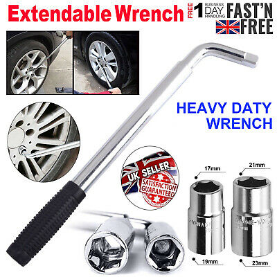 Extendable Wheel Wrench Telescopic Spanner with 17 19 21 23mm Socket Nut Tyre ME