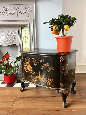 19th Century Japanned Lacquered Chinoiserie Ottoman Blanket Box Antique Oriental