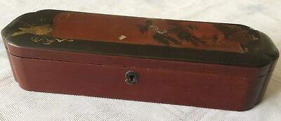 Vintage Japanease Lacquer Wooden Box With Handpainted Scenery On Lid