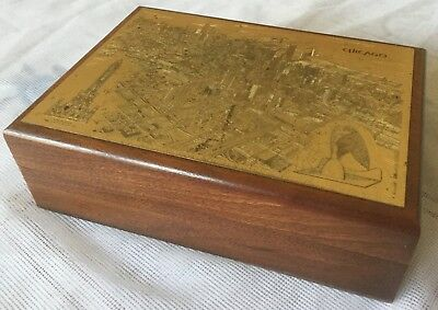 Kurt Mager Metal Art Wooden Card Holder Box With Etched Picture Of Chicago City
