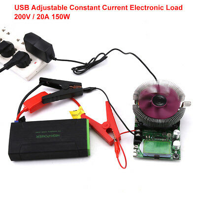 150W USB Constant Current Electronic Load 200V 20A Battery Capacity Tester bss