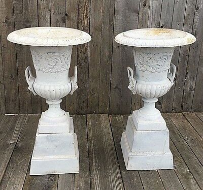 Pair English Victorian Cast Iron Garden Campana Urns Stands white