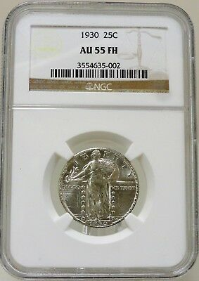 1930 standing Liberty silver quarter, NGC graded AU55 FH full head, #3554635-002