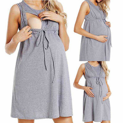 UK Womens Maternity Nursing Pregnancy Care Wrap High Waist Lace Sleeveless Dress