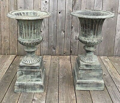 Pair Of English Cast Iron Garden Campana Urns Stands fluted planters