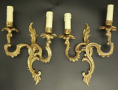 Pair Of Large Sconces Stamped, Louis Xv Style - Bronze - French Antique