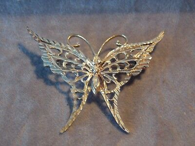 Vintage solid silver butterfly brooch