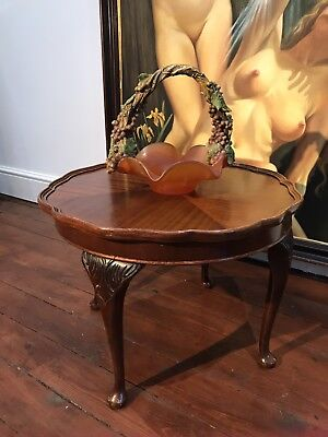 Circular Carved Mahogany Coffee Table With Wooden Gallery Edge