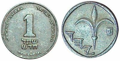 Israel 1 New Shekel Coin Money Sheqel Middle East Holy Land Bead Silver