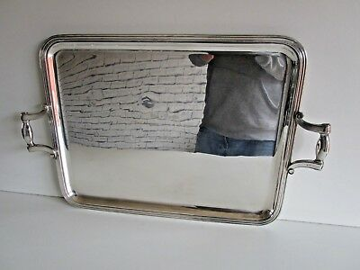Large Christofle Silver Plated Two Handled Serving, Tea Tray