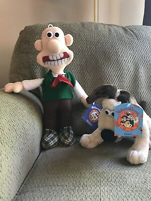NWT Wallace & Gromit Stuffed Plush Dolls 1989 Vintage