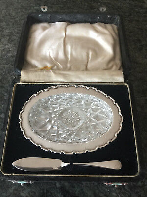 Silver butter dish with glass oval inset and serving knife in original case