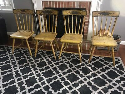 Antique Set Of 4 Mustard Yellow Paint Decorated Chairs Floral Plank Pennsylvania