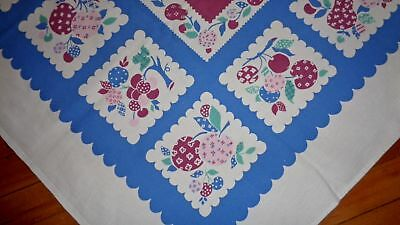 Vintage Blue Burgundy Pink Orchard Fruits Tablecloth Pears Apples Plums Cherries