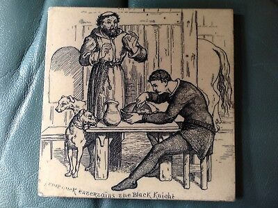 Antique Wedgwood  Tile - Friar Tuck and Black knight - by Thomas Allen c 1880