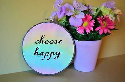 CHOOSE HAPPY watercolored embroidery Hoop Art Wall Hanging Decor Kids Girl sign