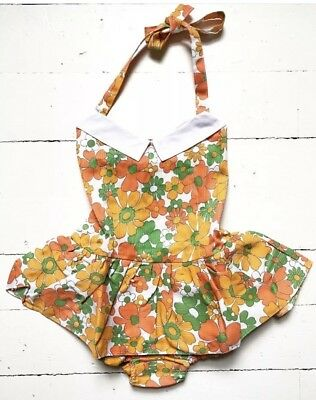 Vtg Sunsuit Romper One Piece Skirted Sunsuit Baby Toddler Girl