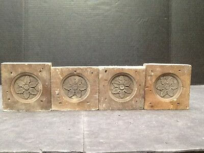 Vintage Antique Architectural Salvage 4 Oak Carved Corner Blocks