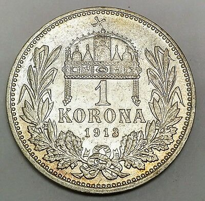1913 Hungary 1 Korona Silver Coin Key Date AU Brilliant