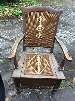 1800's CHAIR CAMMODE  ANTIQUE WITH ORIGINAL CHAMBER POT AND LID
