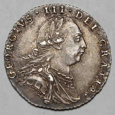 1787 King George Iii Great Britain Silver Sixpence Six Pence 6D Coin