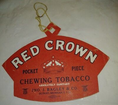 Vintage Red Crown Chewing Tobacco Advertising Sign, Fan Pull