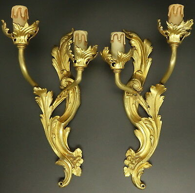 Pair Of Large Sconces, Louis Xv Style, Early 1900 - Bronze - French Antique