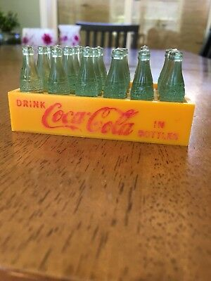 Vintage Miniature Coca Cola Green Mini Coke Bottles 24 in a Yellow Plastic case