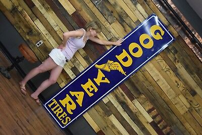 8ft Goodyear Porcelain Tires Sign 1930's Auto Gas Station Repair Garage Service