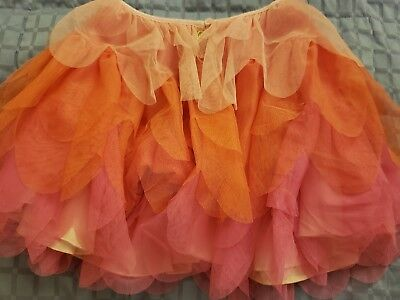 Cat and Jack Girl's Ruffled Tutu Fairy Skirt Size S/M Oranges and Pink ADORABLE!