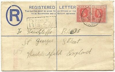 Nigeria KGV 2d registered envelope used 1920 to UK