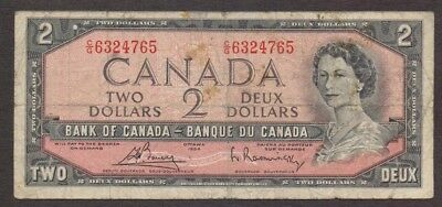 Canada Banknote - 2 Dollar Bill - 1954-1987 Modified Hair Style Issue - P 76c