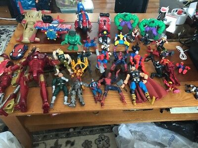 Huge mixed Lot of marvel Characters spiderman Iron Man action figures And Cars
