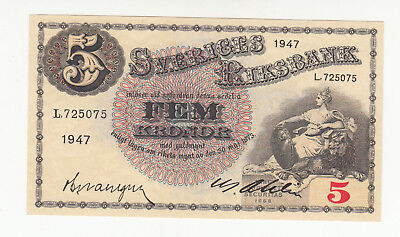 Sweden 5 kronor 1947 UNC @ low start