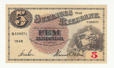Sweden 5 kronor 1948 AUNC @ low start