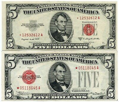 Genuine 1928-C & 1953-B Red Seal $5 Star Notes