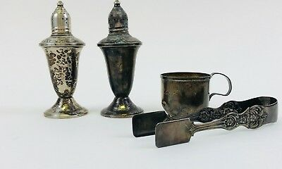 Sterling Silver 925/950 Mixed LOT Weighed S&P Baby Cup & Tongs  266 Grams
